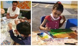 """بمناسبة اليوم العربي لليتيم"""" جمعية كيان تقيم ورش عمل فنون تشكيلية لأبنائها لصقل مواهبهم في الرسم والتلوين"""